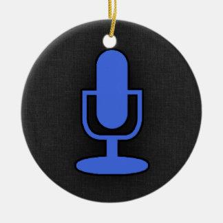 Micrófono del azul real adorno redondo de cerámica