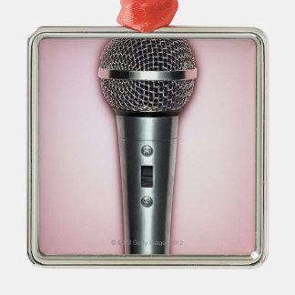 Micrófono del cromo adorno navideño cuadrado de metal
