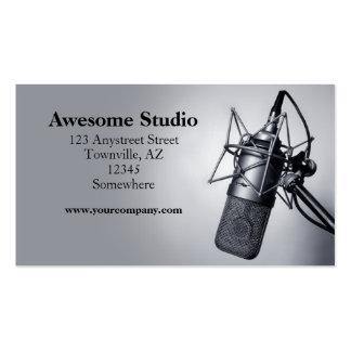 micrófono del estudio tarjetas de visita