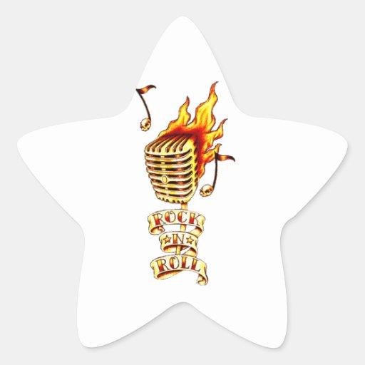 Micrófono del rock-and-roll colcomanias forma de estrellaes personalizadas