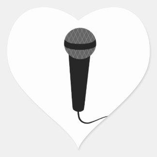 Micrófono negro pegatina en forma de corazón