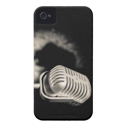 Micrófono retro del estilo iPhone 4 Case-Mate fundas