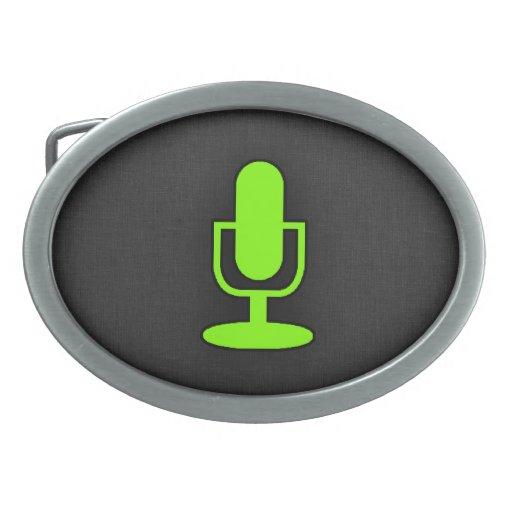 Micrófono verde chartreuse, de neón hebillas cinturon ovales
