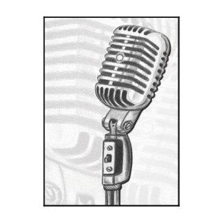 Micrófono viejo en la impresión del arte de la impresión de lienzo