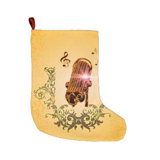 Micrófono y clef impresionantes calcetín de navidad grande