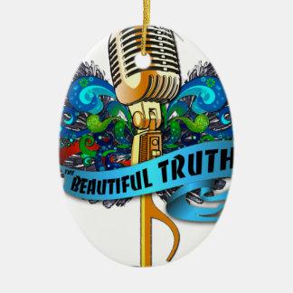 Micrófono y nota hermosos de la verdad adorno navideño ovalado de cerámica