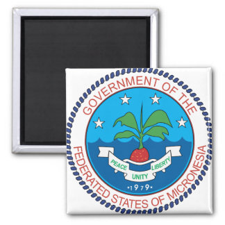 Micronesia Coat of Arms detail 2 Inch Square Magnet
