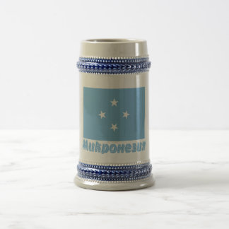 Micronesia Flag with name in Russian 18 Oz Beer Stein