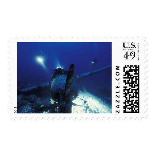 Micronesia, Palau, World Heritage Site. Divers Postage Stamp
