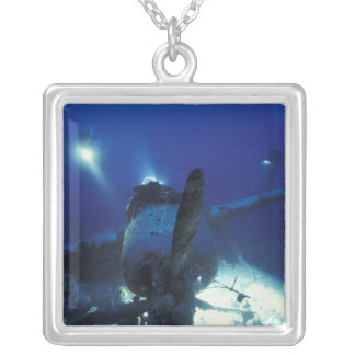 Micronesia, Palau, World Heritage Site. Divers Silver Plated Necklace
