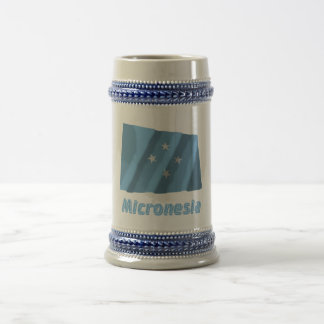 Micronesia Waving Flag with Name 18 Oz Beer Stein