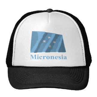Micronesia Waving Flag with Name Trucker Hat