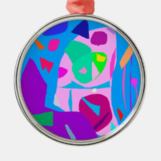 Microorganisms in the Sky Talk Telepathy Round Metal Christmas Ornament