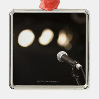 Microphone and Spotlights Square Metal Christmas Ornament