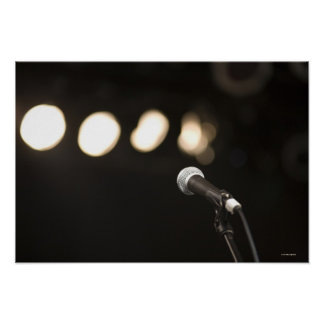 Microphone and Spotlights Poster