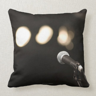 Microphone and Spotlights Throw Pillow