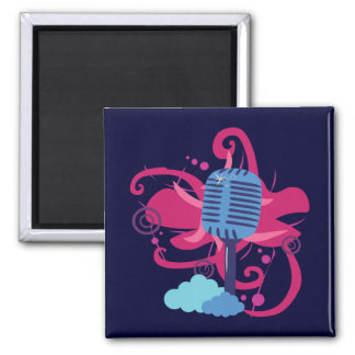 Microphone Art Explosion 2 Inch Square Magnet