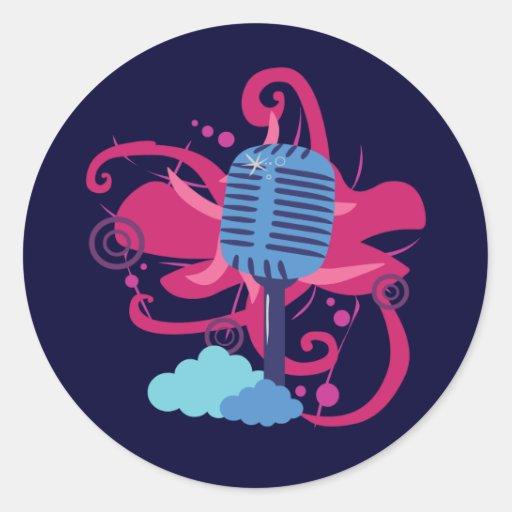 Microphone Art Explosion Classic Round Sticker