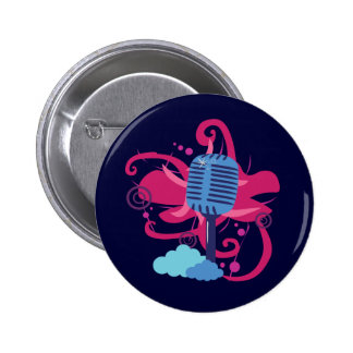 Microphone Art Explosion Pinback Buttons
