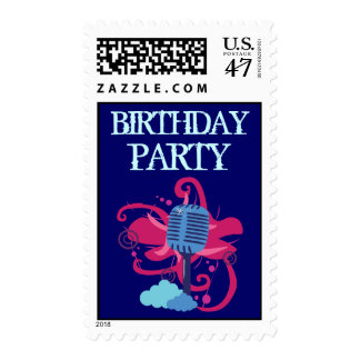 Microphone Birthday Party Postage Stamps