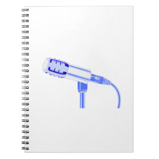 Microphone Blue and White Side View Graphic Notebook