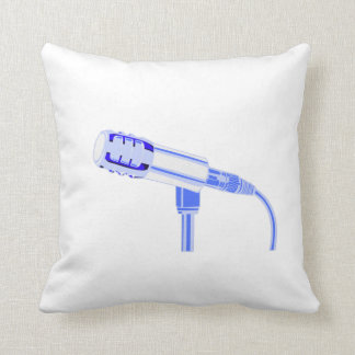 Microphone Blue and White Side View Graphic Throw Pillow