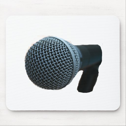 Microphone close up mic cutout design mouse pad