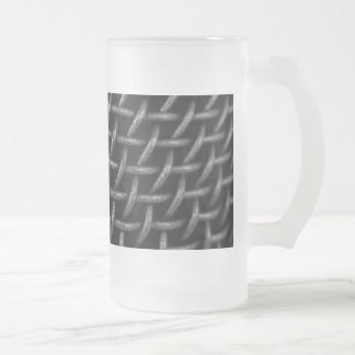 Microphone Grid Background Frosted Glass Beer Mug