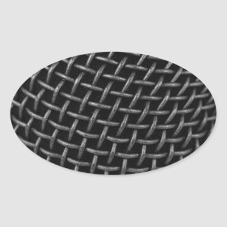 Microphone Grid Background Oval Sticker