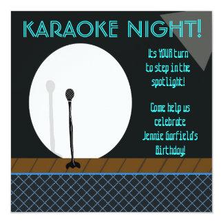 "Microphone in Spotlight Karaoke Night Invitation 5.25"" Square Invitation Card"
