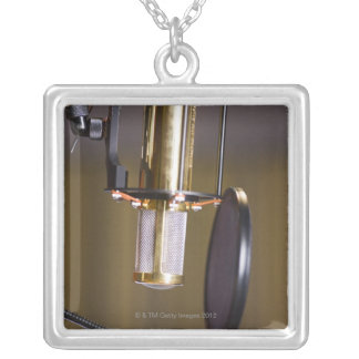 Microphone in Studio Silver Plated Necklace
