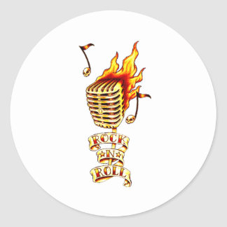 Microphone on fire classic round sticker