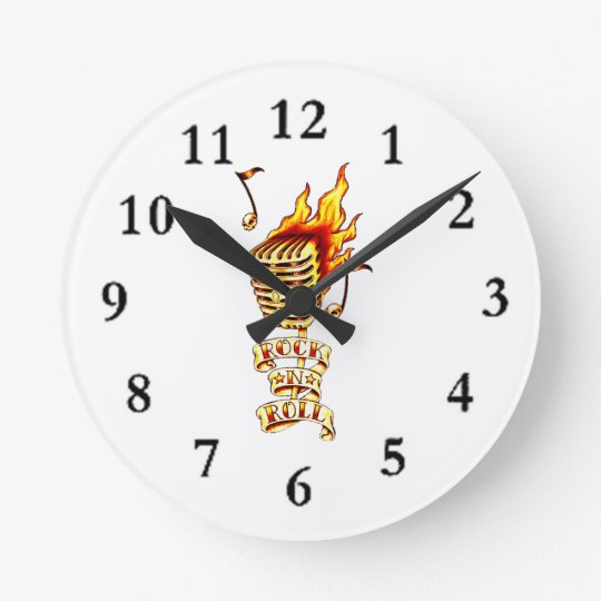 Microphone on fire round clock