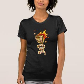 Microphone on fire shirt