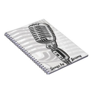 Microphone Personalized Lyric Book Spiral Note Book