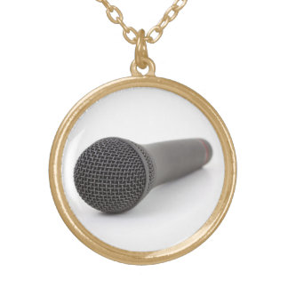 Microphone Photo Gold Plated Necklace
