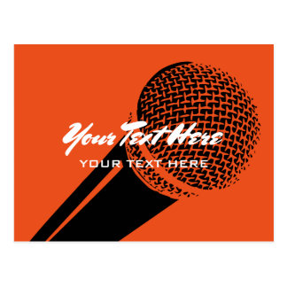 Microphone postcard template with mic logo graphic