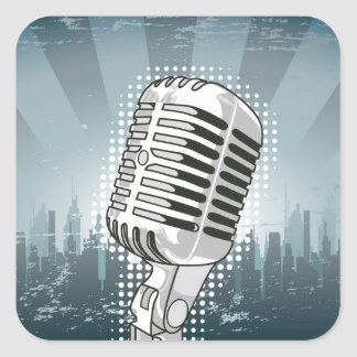 Microphone Rock and Roll Square Sticker