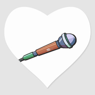 Microphone Simple Abstract facing right Heart Sticker
