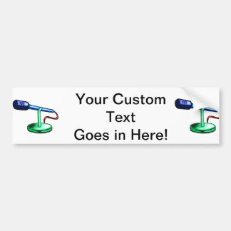Microphone Small Stand Blue and Green Graphic Car Bumper Sticker