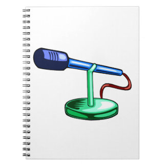 Microphone Small Stand Blue and Green Graphic Notebook