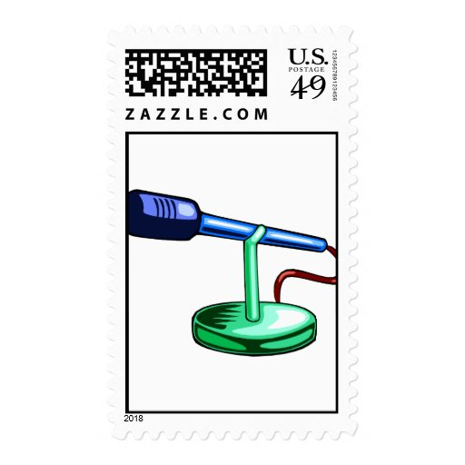 Microphone Small Stand Blue and Green Graphic Postage Stamp