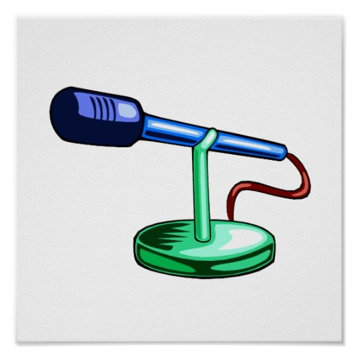 Microphone Small Stand Blue and Green Graphic Poster