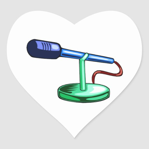 Microphone Small Stand Blue and Green Graphic Heart Sticker