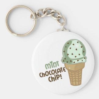 Microprocesador de chocolate de la menta con el te llaveros