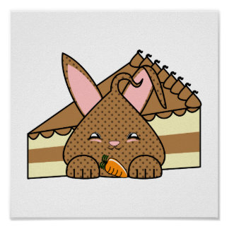 Microprocesador de chocolate doble Hopdrop y torta Poster