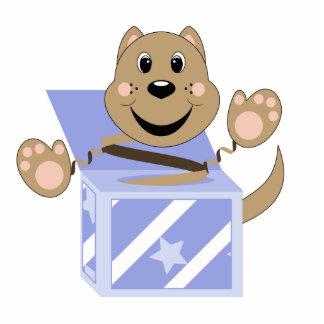 Microprocesador del gato de Skrunchkin en caja azu Escultura Fotografica