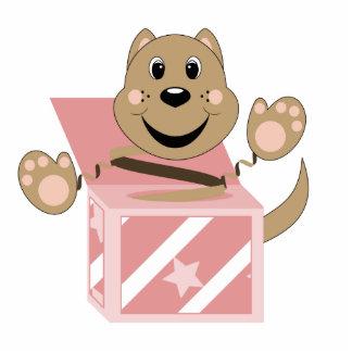 Microprocesador del gato de Skrunchkin en caja ros Escultura Fotográfica