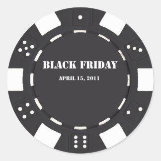 Microprocesador negro de viernes etiqueta redonda