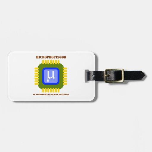 Microprocesador una expresión del potencial humano etiqueta de maleta